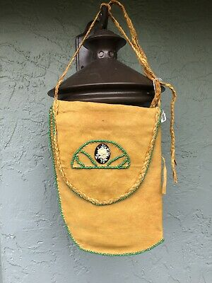 Vintage Leather Medicine Beaded Seed Bag Pouch With Rose Stone