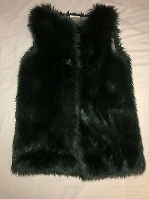 Girls NEXT Green FUR GILET AGE 9! Immaculate Condition