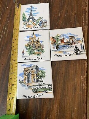 Villeroy and Boch Souvenir De Paris Set Of 4  Tile Trivet Made in W. Germany VB