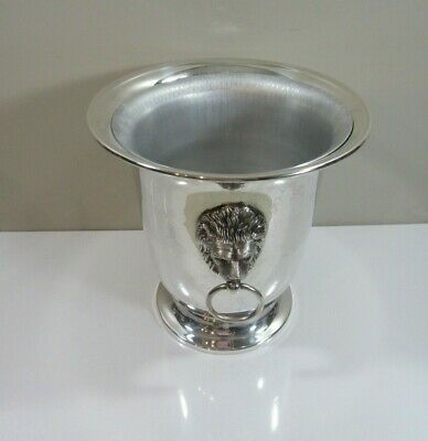Silverplate Champagne Wine Cooler Ice Bucket with Insert and Lions Heads Handles
