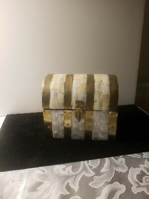 Beautiful Mother of Pearl and Metal Trinket Treasure Chest Jewelry Box's