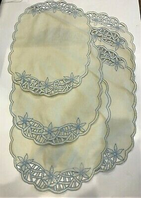 Antique Open-Cutwork Hand-Embroidery Placemats & Napkins, Scalloped, Set of 6