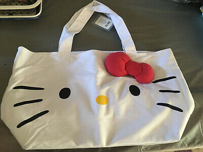 Hello Kitty White Canvas Tote—-New With Tags