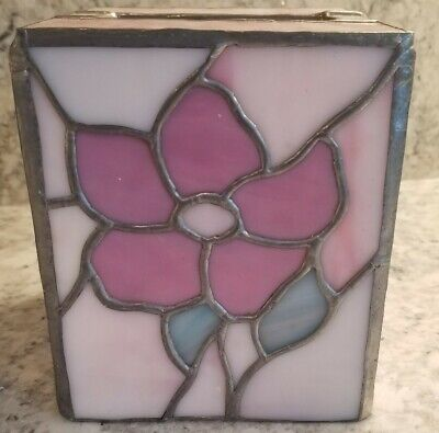 Vintage Stained Glass Tissue Box Cover Square Rose Flower Pink White