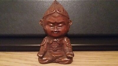 Chinese Boxwood Monkey King statue home decor Hand-Carved art figure ornament