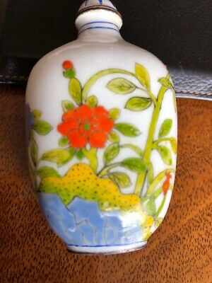 Vintage Chinese Snuff Bottle with top: Birds and flowers on Porcelain