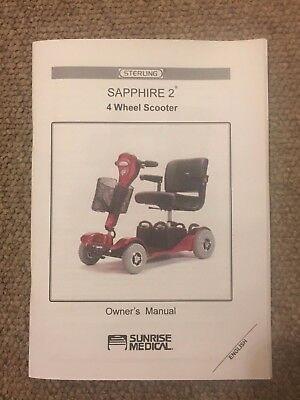 Sunrise Medical Sterling Sapphire 2 Mobility Scooter Owner's Manual Instructions
