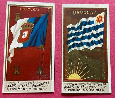 Two 1890 Allen & Ginter N10 Flags of All Nations, Uraguay & Portugal, Nice