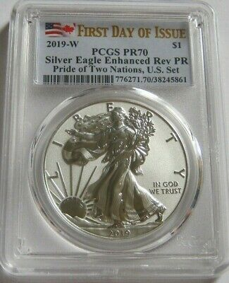 2019-W PCGS PR70 Enhanced Rerverse Proof AMERICAN SILVER EAGLE ~First Day Issue~