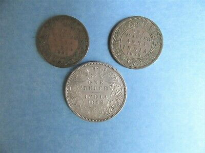 3 British India Coins 1862 1 Rupee & 1/4 Anna 1862 & 1879