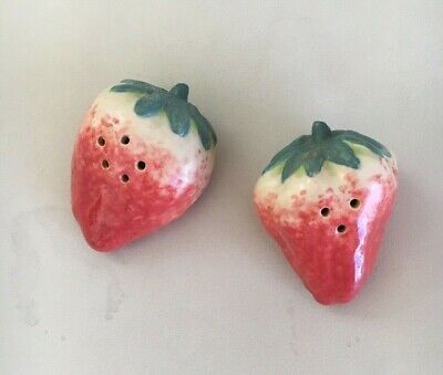 ~ Patricia Garrett Great Impressions ceramic Strawberry Salt + Pepper Shakers