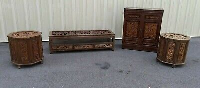 Vtg Liquor Cabinet, Coffee Table and 2 End Tables, Rare Oriental Hand Carved