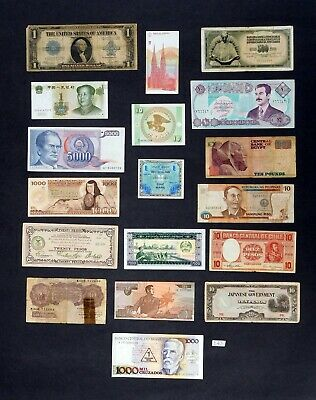 E43t World banknotes currency paper money USA, Croatia, Iraq, Chile, England & m