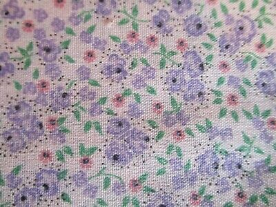 Vintage Fabric Small Scale Ditsy Floral Roses Cotton  ~ Lavender 45 x 1 3/4 Yard