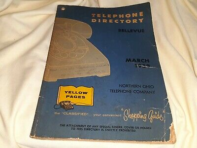Vintage Yellow Pages Telephone Book Bellevue Ohio March 1958