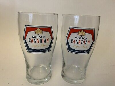 """Molson Canadian Lager Beer Glasses 6""""  x 2"""