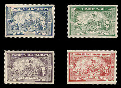 1934, Long Island Stamp Show Poster Stamps - Set Of 4