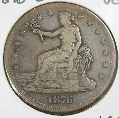1876 S Silver Trade Dollar! Very Fine condition, high grade coin! sd390