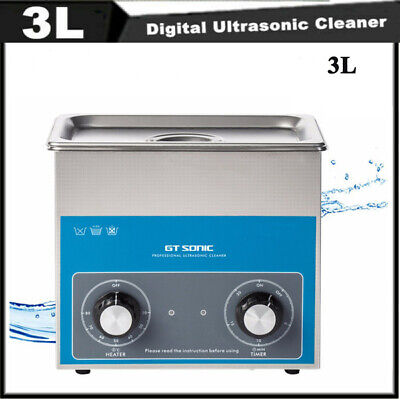 3L Ultrasonic Cleaner Stainless Ultra Sonic Tank Bath Cleaning Adjust Timer Heat