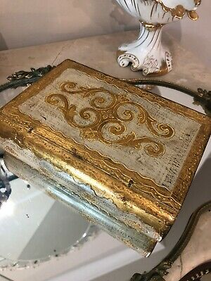 Vintage Italian Florentine Wood Faux Book HINGED Box GOLD GILT GESSO SHABBY