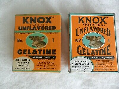 Two Vintage KNOX Sparkling Unflavored GELATINE BOX, 2 Packs & Recipes & Cow