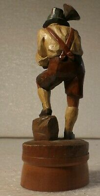 German Black Forest Carving Bavarian Harmonica Player Folk Art