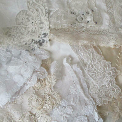 AS IS * Lot 9 Vintage Sheer Linen + French LACE Handkerchiefs * DOLLS ~ Salvage
