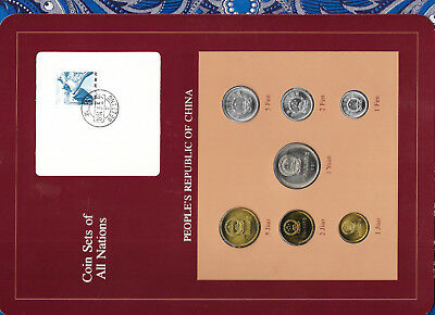 Coin Sets of All Nations China w/card 1981-1983 UNC 2 Jiao 1981 1 Fen 1983 PROOF