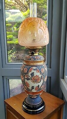 Original Victorian Taylor  Tunnicliffe Orange Blue Oil Lamp Hinks PotteryCeramic