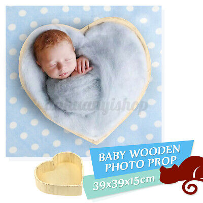 Wooden Heart Photography Prop Cot Baby Photo Bed Newborn Photographic Box Gift