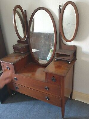 Antique Edwardian inlaid mahogany dressing table with three mirrors