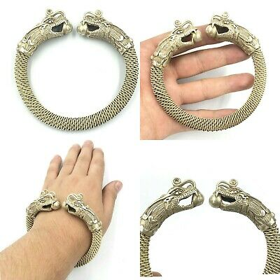 Perfect Ancient Viking Bronze Bangle Bracelet With 2 Snake Head