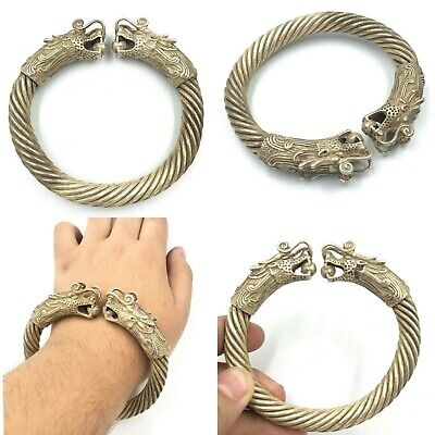 Wonderful Perfect Ancient Viking Bronze Bracelet Bangle With 2 Dragons Head