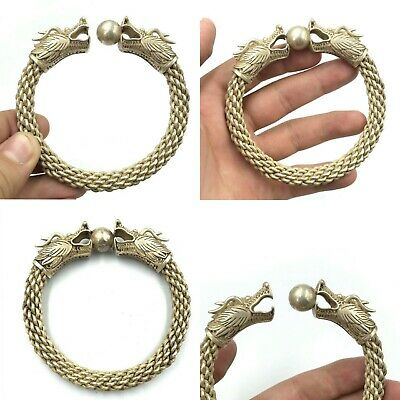 Perfect Wonderful Ancient Viking Bronze Bangle Bracelet With 2 Dragon Heads
