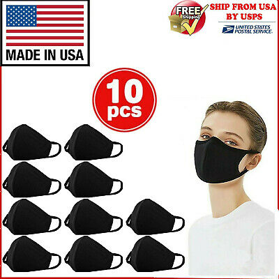 10Pcs Washable Cotton Face Mask Reusable, Black, Made In Usa, 10 Pcs In 1 Pack