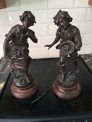 Antique French 1890-1910 Patinated Bronze Spelter Pair of Child Figures Signed