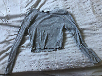 Newlook 915 Generation Girls Age 9 Grey Fine Ribbed Cropped Top
