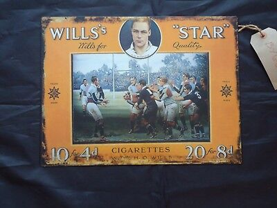 Rugby Vintage Style Metal Picture Plaque Wills Star Cigarettes Tin Sign Sport