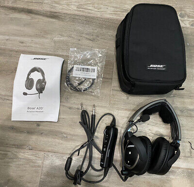 Bose A20 Aviation Headset with Bluetooth Dual Plug Cable Excellent Condition