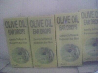 Olive Oil 15ml Ear Drops Gently Softens & Removes Ear Wax 4 packs total 60ml