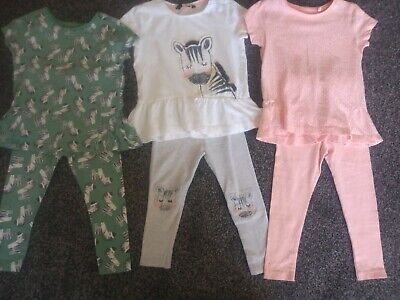 Girls Bundle Of 3 Tops & 3 Leggings Age 2-3 Years Excellent Condition