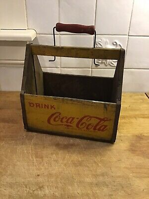 Vintage 1940's Coca Cola Wooden Bottle Carrier Caddy WWII Era War Wings