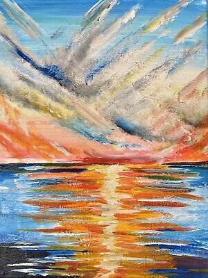 ORIGINAL ACRYLIC PAINTING ON CANVAS~ SUNSET AT SEA| By H.Jankowska
