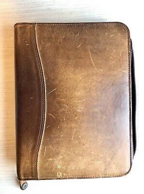 "Franklin Covey Planner Binder - CLASSIC 1.25"" Brown Leather - Great Patina"