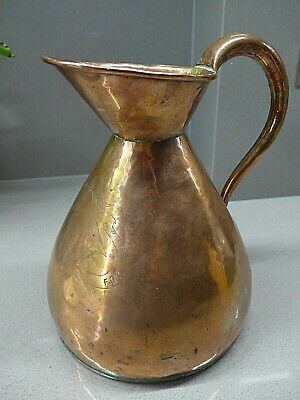 Interesting Antique Copper Jug with Engraved Armorial/Crest