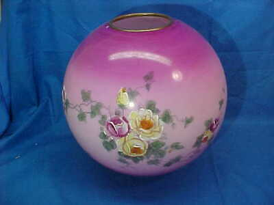 19thc VICTORIAN Era GONE w WIND Style OIL LAMP GLOBE w Painted ROSES