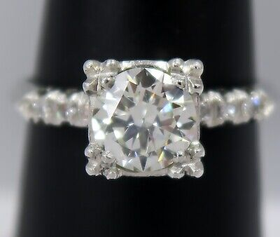 PLATINUM ~ 1.01 Carat Round Brilliant cut DIAMOND Engagement Ring ~ SI1 / I ~