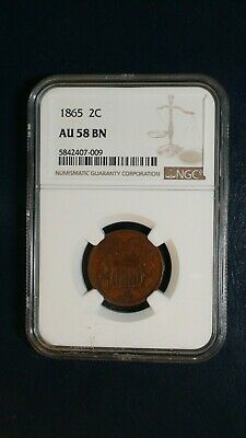 1865 Two Cent Piece NGC AU58 2C Coin PRICED TO SELL FAST!