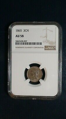 1865 Three Cent Nickel NGC AU58 3CN Coin PRICED TO SELL FAST!
