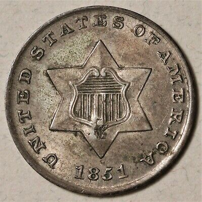 1851 3-cent Silver AU Lovely Patina   No Reserve